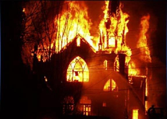 burned church
