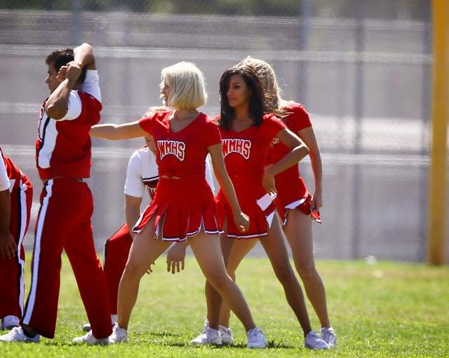 Dianna Agron, Naya Rivera and Heather Morris as Cheerleaders on the Set of 'Glee' in Los Angeles