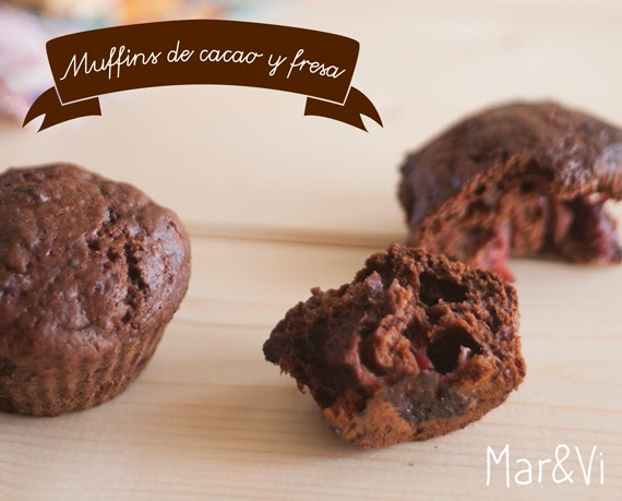Receta de muffins de cacao y fresa