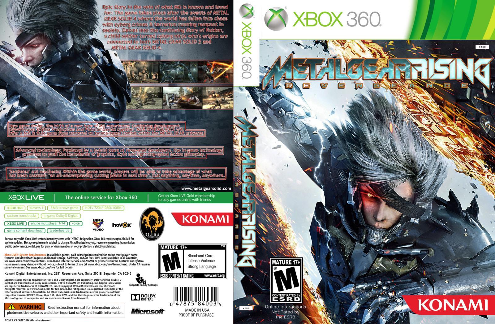 Capa  Metal Gear Rising Revengeance Xbox 360