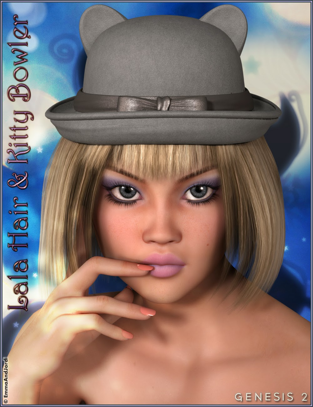 http://www.daz3d.com/lala-hair-and-kitty-bowler