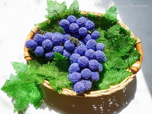 как сделать из бисера виноград