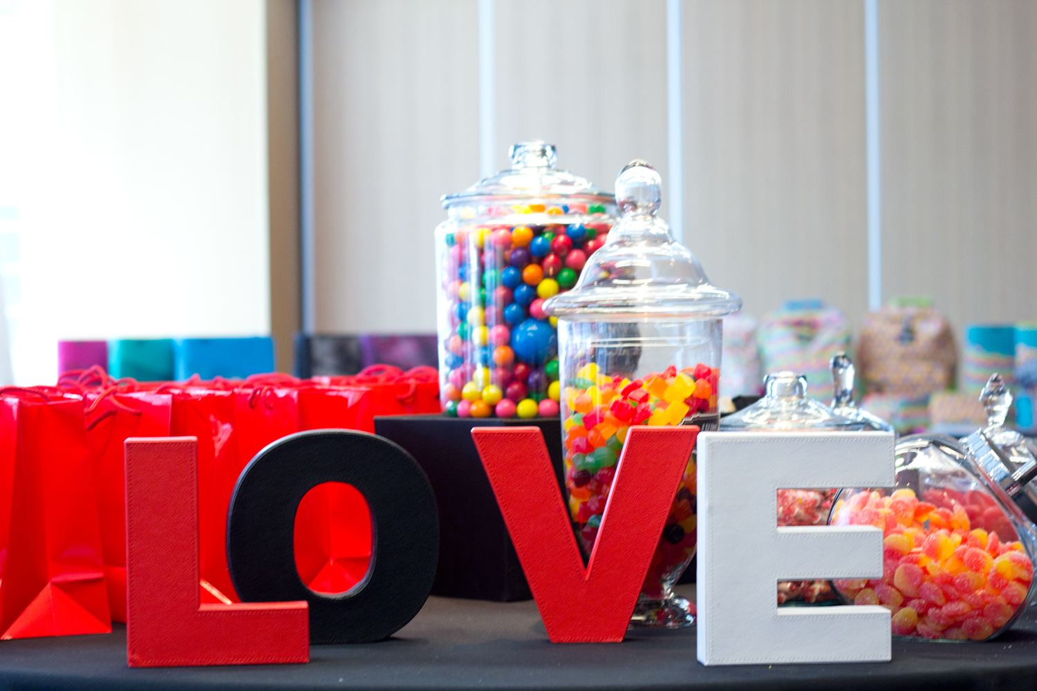 love-signs, gum-balls, colourful-candies,media-event