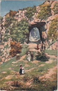 Vintage postcard of Reynard's Cave, Dovedale, Derbyshire