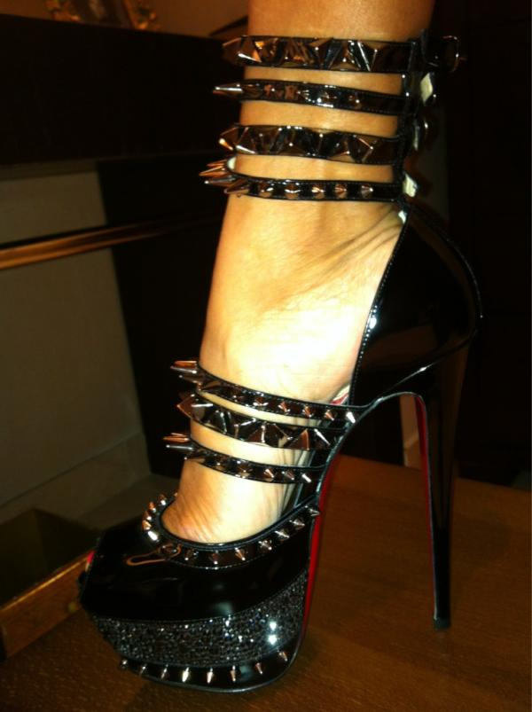 christian louboutin gold spiked heels price