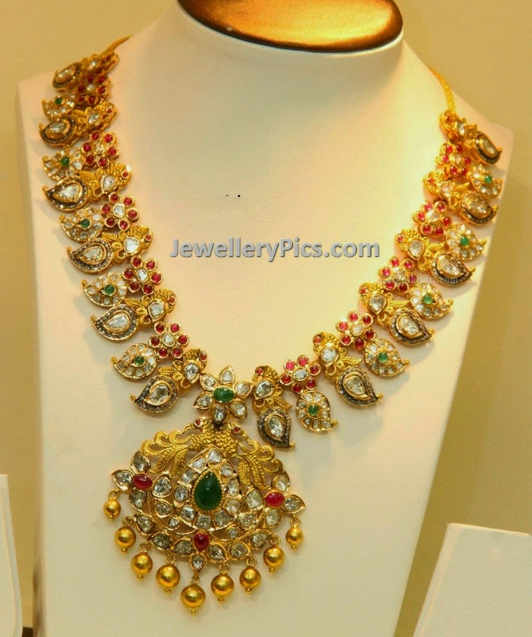 antique finish kundan polki mango necklace