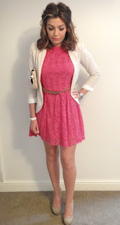 Miss Guided Dress, Prink Dress, Pink Lace Dress, Topshop Blazer, Cream Blazer, White Blazer