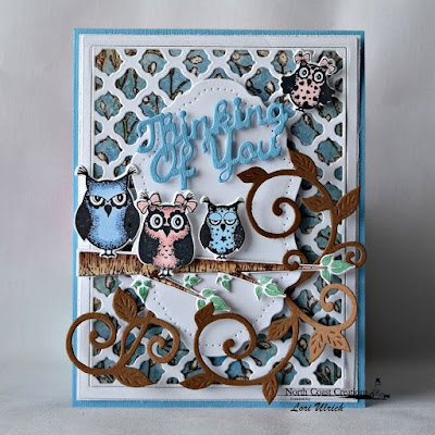 North Coast Creations Stamp set: Who Loves You?, North Coast Creations Custom Dies: Owl Family, Thinking of You, Flourished Vine, Our Daily Bread Designs Custom Dies: Vintage Flourish Pattern, Boho Background Die, Our Daily Bread Designs Blooming Garden Paper Collection