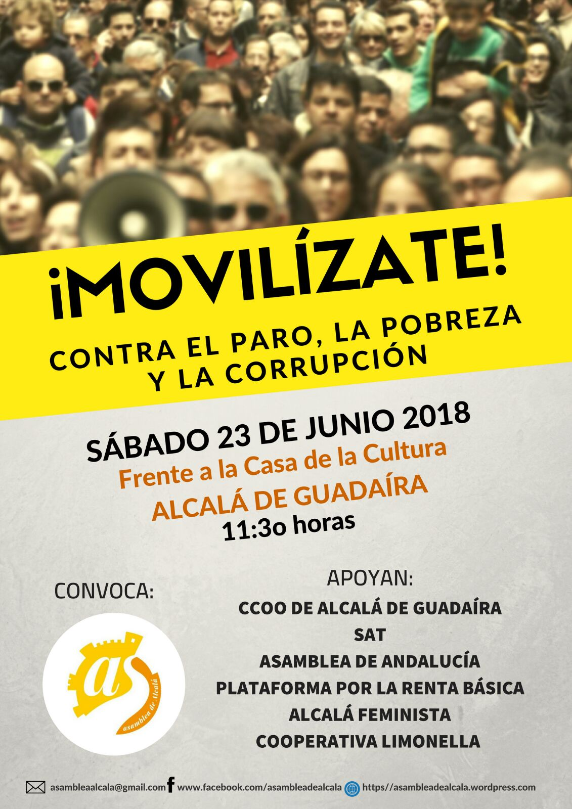¡MOVILIZATE! CONTRA EL PARO,LA POBREZA Y LA CORRUPCIÓN. Manifiesto y fotos de la manifestación.
