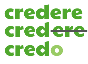 credere -> cred- -> credo : CREDERE conjugated in the 1st person singular present tense by ab for didattichiamo.blogspot.com
