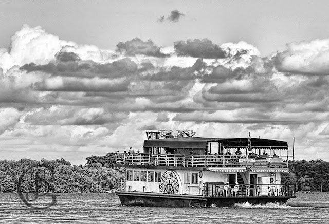 The Island Princes on the waters of Lake Simcoe with a passenger load, black and white pencil-style