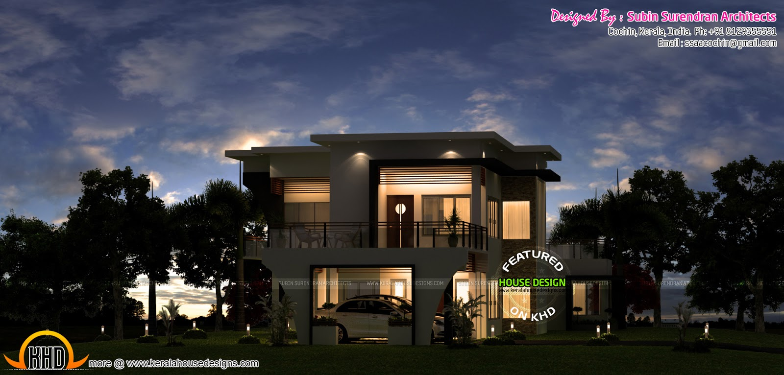 Beautiful modern house in night view kerala home design for Modern house view