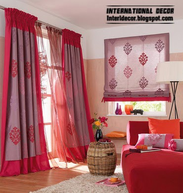 red curtains window treatments,contemporary red curtain