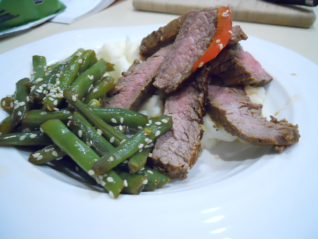Joie Patisserie: Ginger Flank Steak with Wasabi Smashed ...