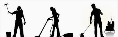 Three silhouette figures in a row, each doing a cleaning activity