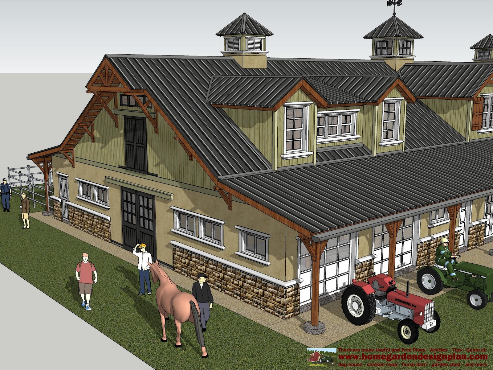 Home garden plans hb100 horse barn plans horse barn for House barn combo plans