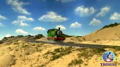 Green train Percy the tank engine a new place of interest golden sand seafront of Norramby beach