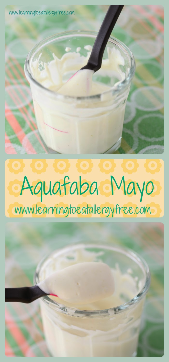 Use the liquid from a can of beans to make this amazing, light, flavorful mayo! Allergy friendly, dairy-free, and egg-free. Recipe found at Learning to Eat Allergy-Free