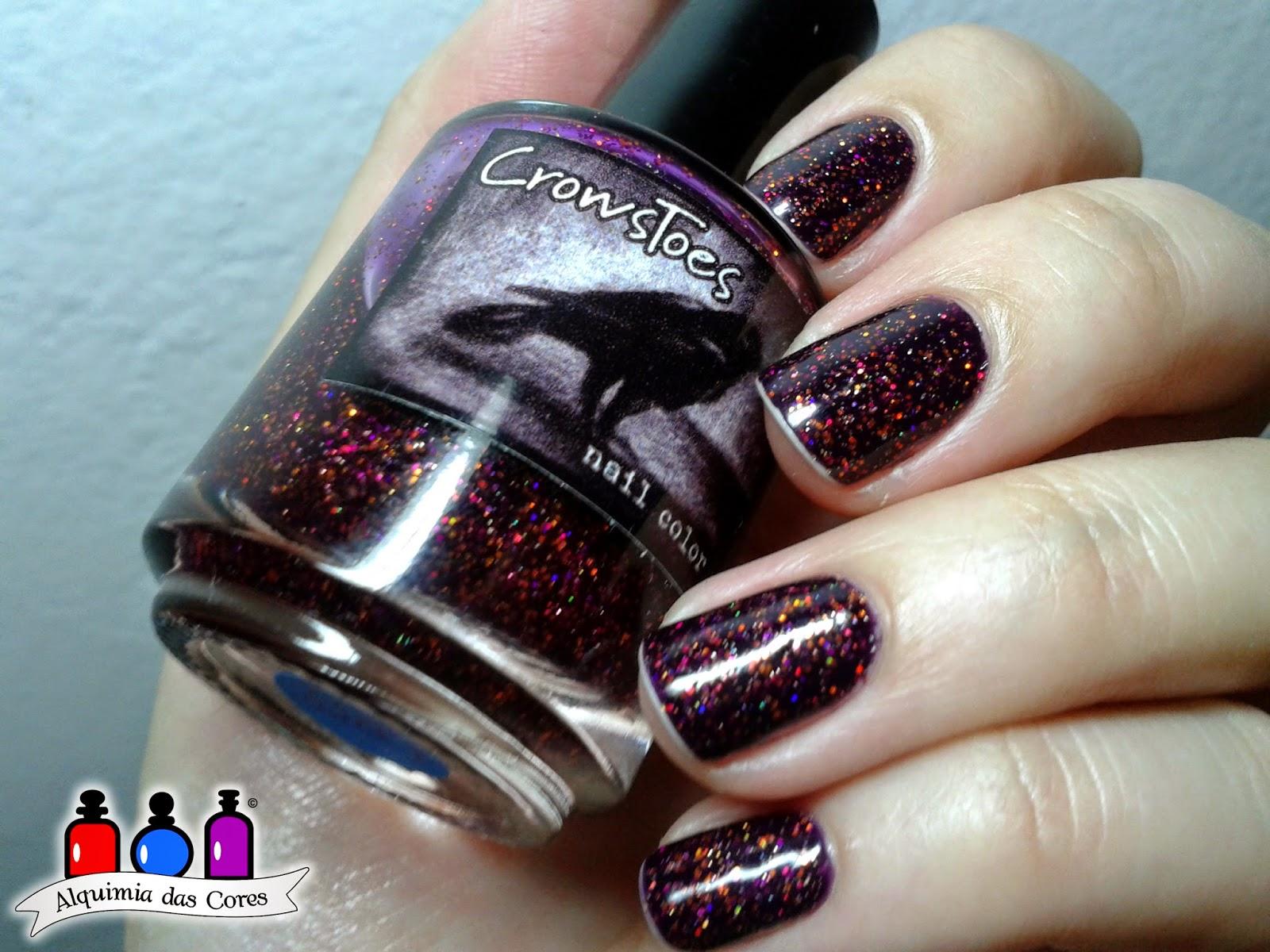Crowstoes, Glitter, Caminie, Roxo, revlon, Plum Night, Cremoso, esmalte, nail polish