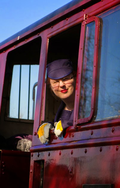 Mim in the cab of steam engine 'Spartan'