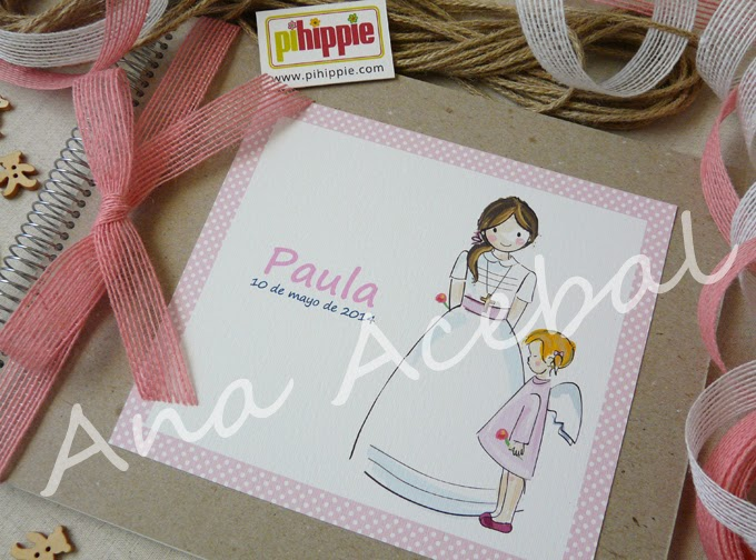 Modelo cartón reciclado portada Libro Comunión firmas recuerdos personalizado original