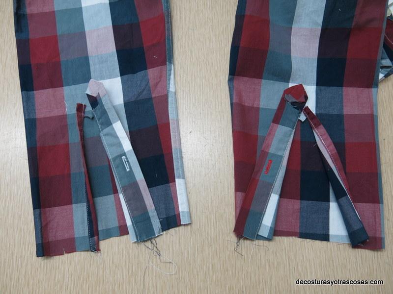 como se arregla una manga de camisa con piezas en la abertura
