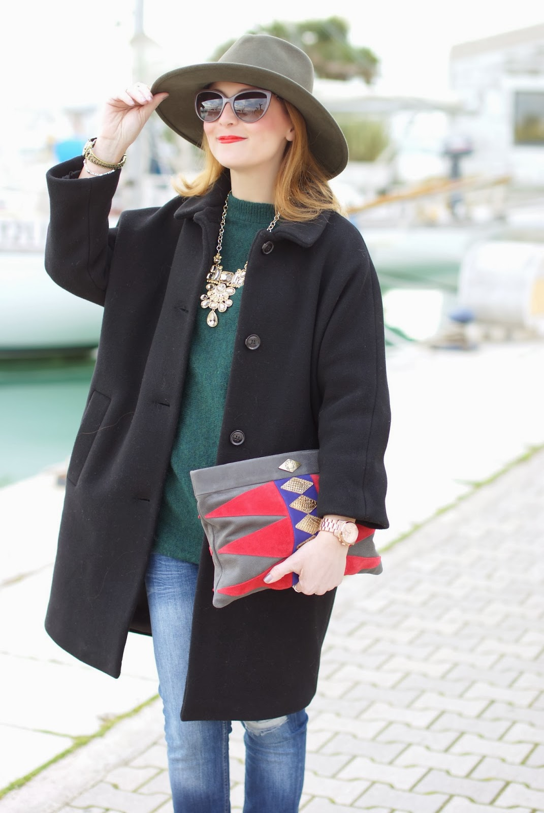 wide brim olive hat, black egg shaped coat, Fashion and Cookies, fashion blogger