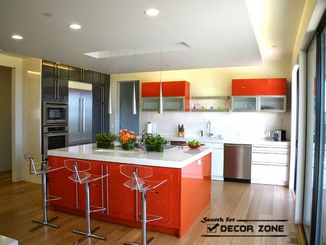 orange kitchen island, orange gray yellow color combination