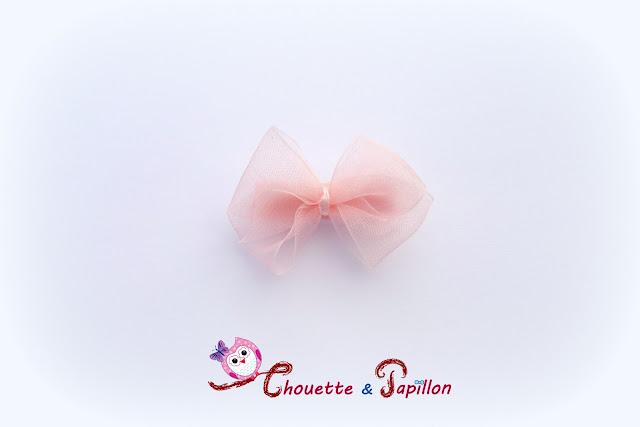 barrettes enfants anti glisse noeud organza rose