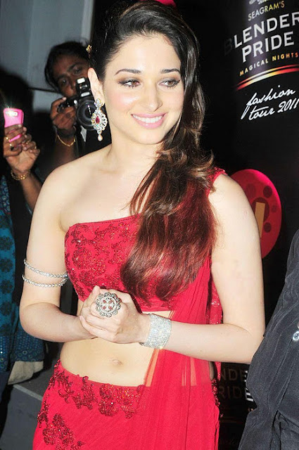 tamanna hot pics in red dress on ramp