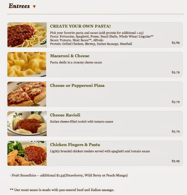 the kids menu olive garden kids menus prices - Olive Garden Menu And Prices