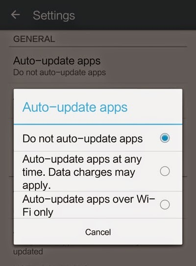 how to stop auto update of android apps