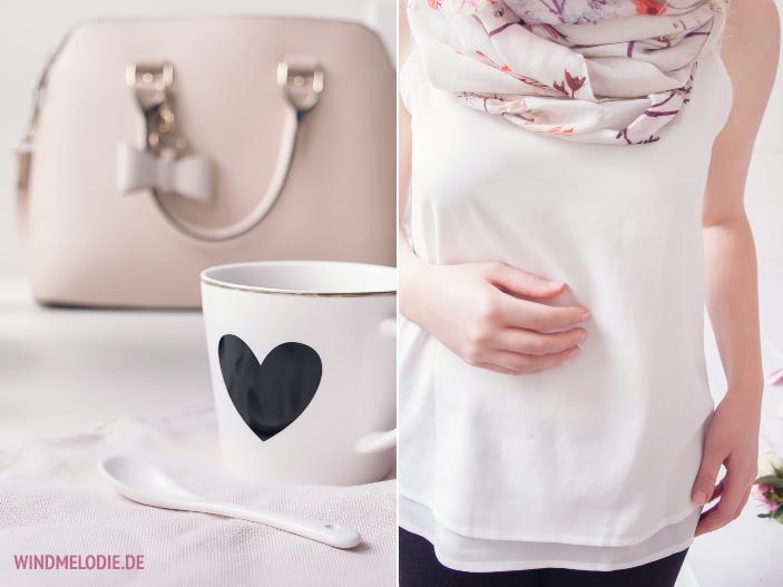 Teatime Outfit rosa Tasche Top weiß fließend