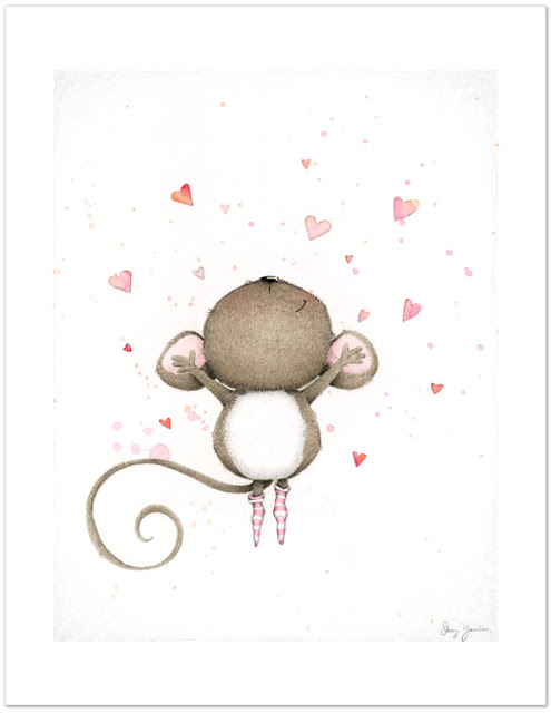 Stacey Yacula Illustration, art print, greeting card, mouse, hearts, valentine's day, love
