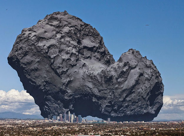 18 Photos That Will Make You Reconsider Your Existence! - This is Rosetta's Comet. A probe was recently landed on it, and this is how big it is in comparison to Los Angeles