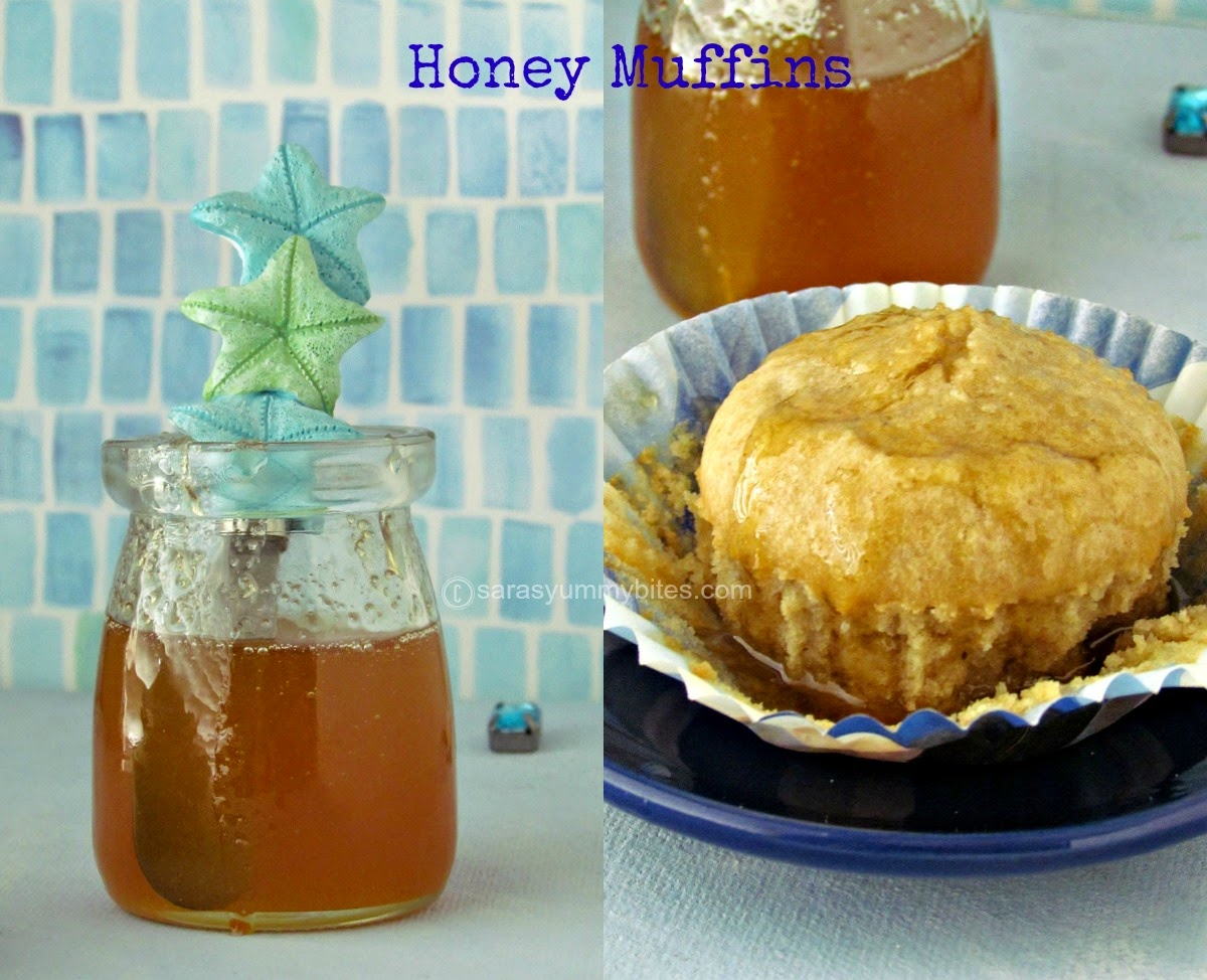 Eggless Butterless Honey Muffins
