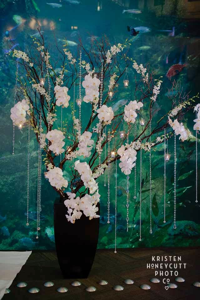 Seattle Aquarium wedding, blooming orchid tree, crystal tree, wedding flowers