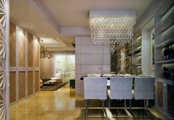 False Ceiling LED Lights: Dining Room With Chandelier And Ceiling Lights
