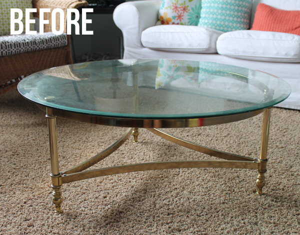 Simple Brass Coffee Table Makeover