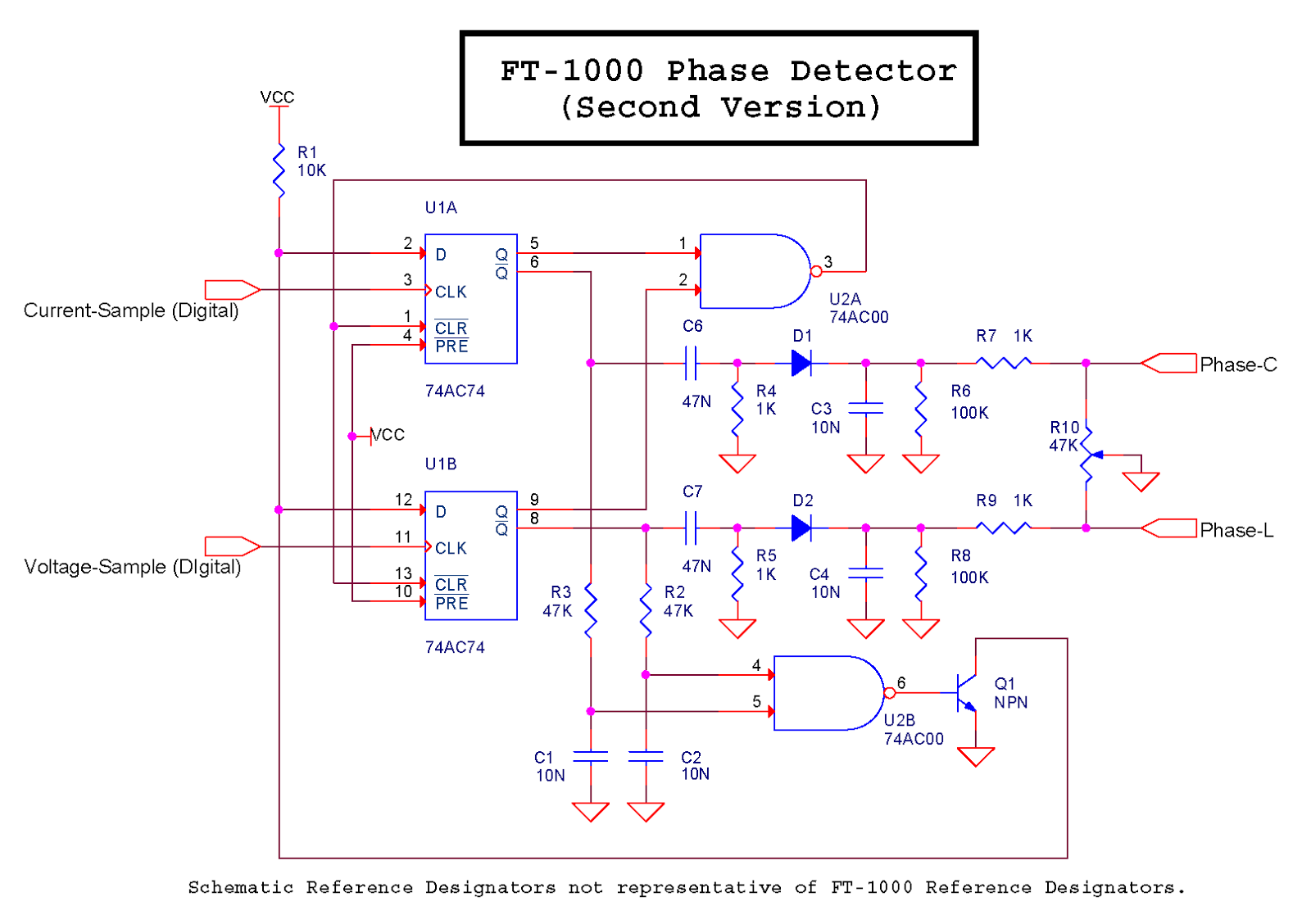 K6jca Antenna Auto Tuner Design Part 6 Notes On Match Detection Inductance Meter Circuit The Dual D Flip Flop Reset By A Nand Gate Is Common Phase Detector Which You Can Also Find Implemented In Ic Chips As For Example