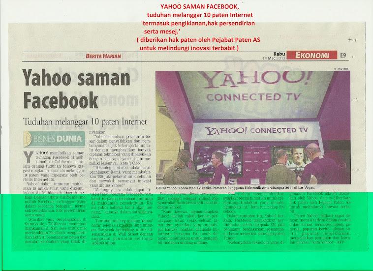 Yahoo saman Facebook,langgar 10 paten iklan,hak serta mesej.Nu-Prep100 US patent long jack