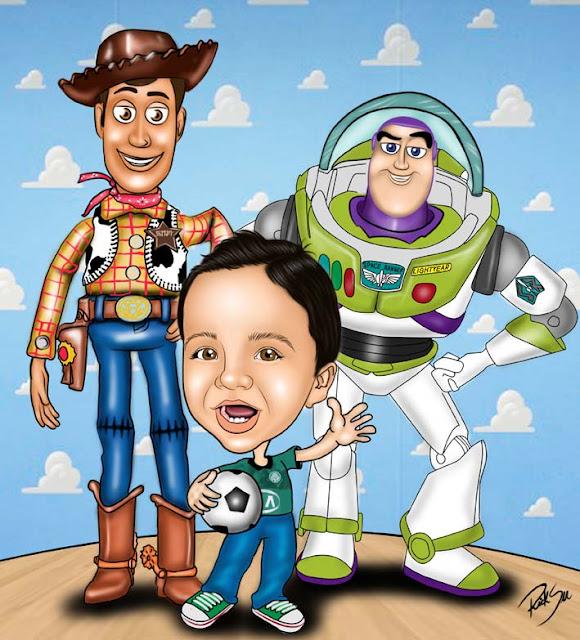 toy story com caricatura de criança