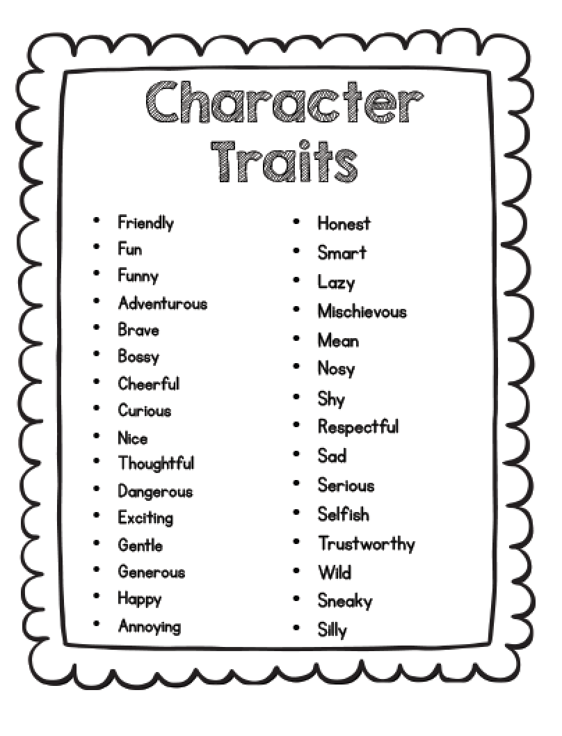 sarah s first grade snippets teaching character analysis in the here s a list of character traits