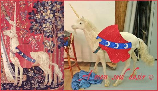 Licorne médiévale de la Dame à la Licorne / Blason Croissants de Lune