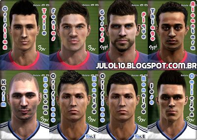Face de Cristian Tello, Face de Andreu Fontàs, Face de Gerard Piqué, Face de Thiago Alcântara Ambos do Barcelona, Face de Karim Benzema, Face de Cristiano Ronaldo e Face de José María Callejón Ambos do Real Madrid para PES 2012 Download, Baixar Facepack Barcelona Vs Real Madrid com 7 Faces para PES 2012