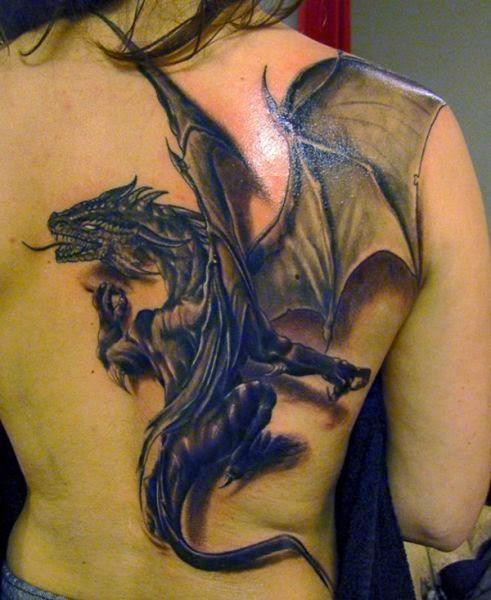 Great 3D Dragon Tattoo for women on back