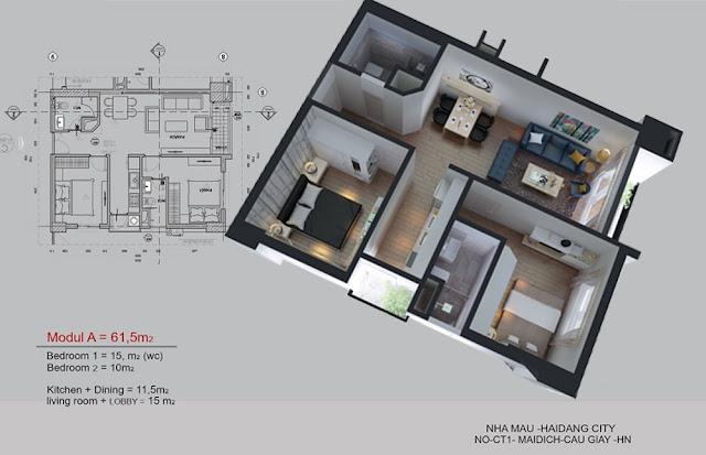 Mặt bằng căn hộ 0612 tòa CT1A chung cư Hải Đăng City