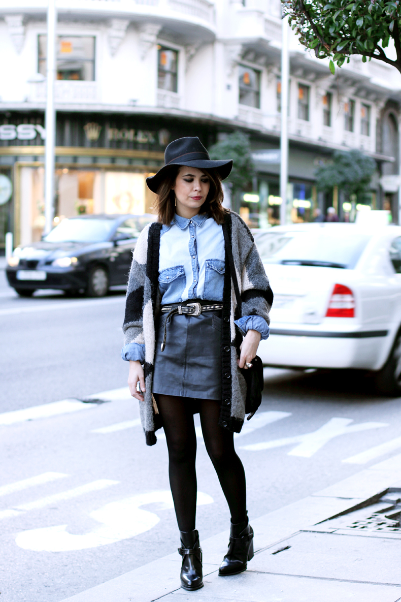 denim shirt leather skirt collage vintage