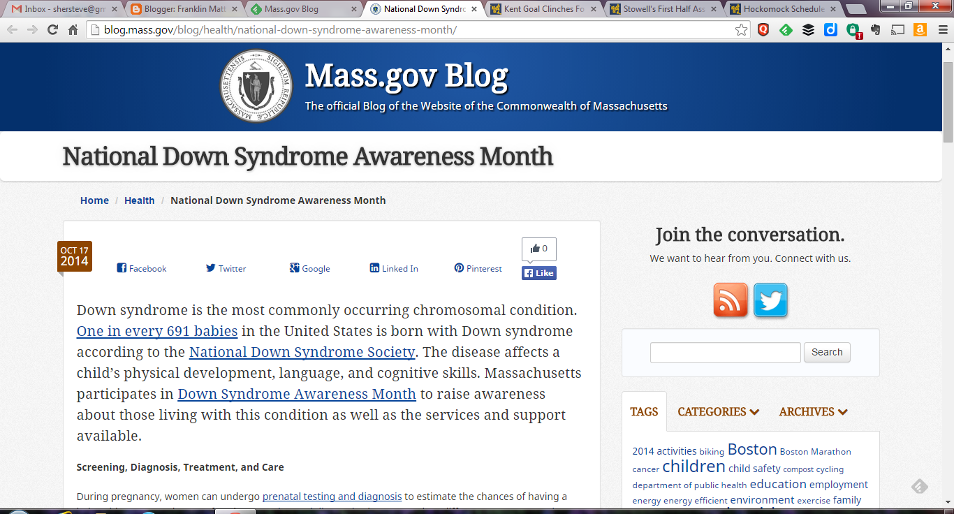 National Down Syndrome Awareness Month