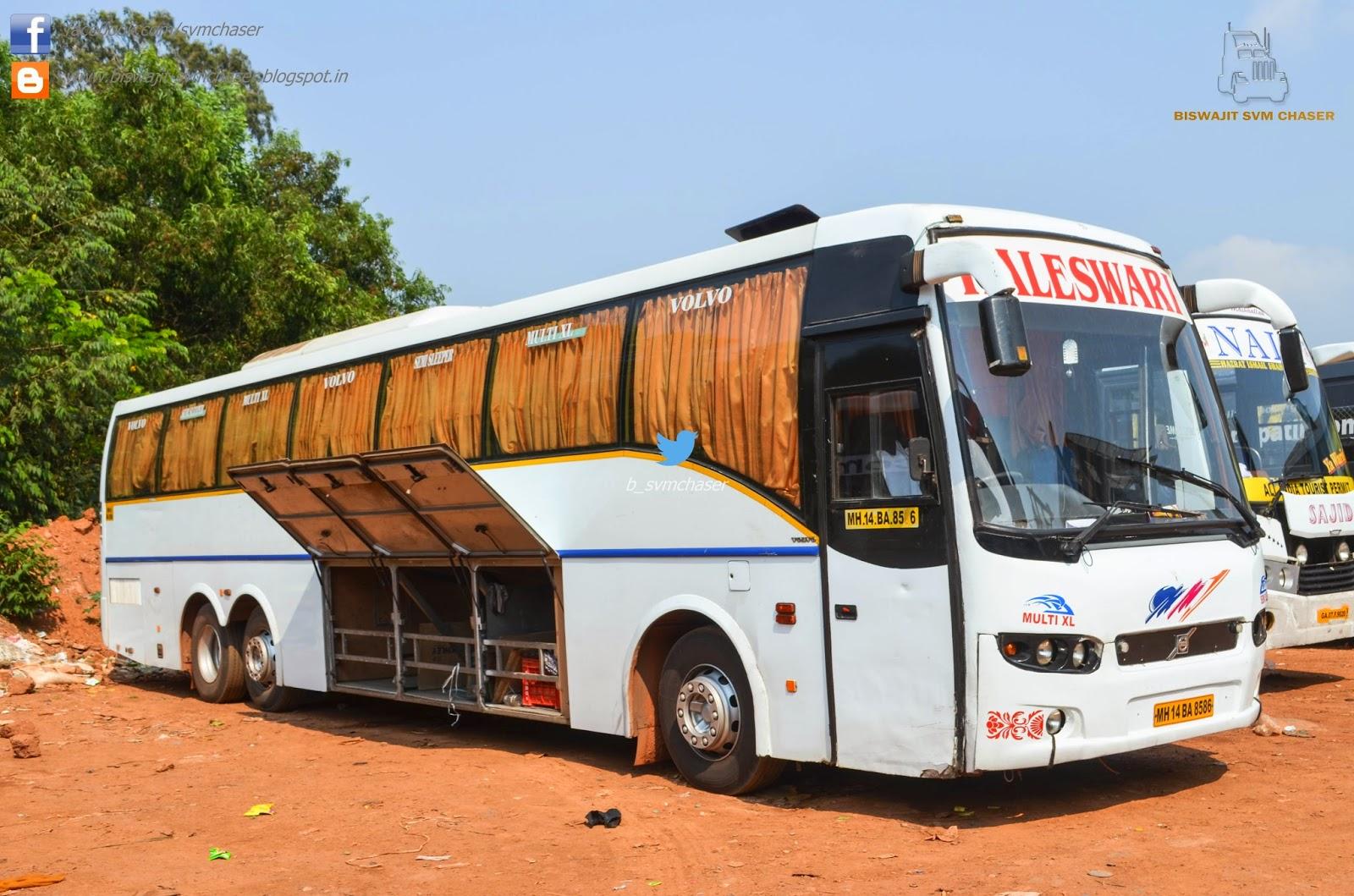 Kaleswari Volvo B9r Multiaxle Semi Sleeper Mh14 Ba 8586 Biswajit